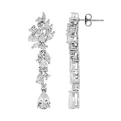 Emotions Sterling Silver Cubic Zirconia Linear Drop Earrings