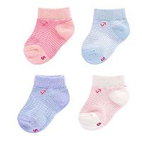 Baby Girl everUP™ 4-pk. Striped Low-Cut Socks