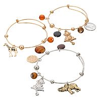 Monkey, Elephant & Giraffe Charm Bangle Bracelet Set