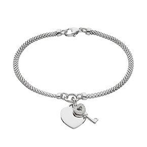 Sterling Silver Cubic Zirconia Key & Heart Charm Mesh Bracelet