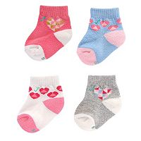 Baby Girl everUP™ 4-pk. Hearts Quarter-Crew Socks