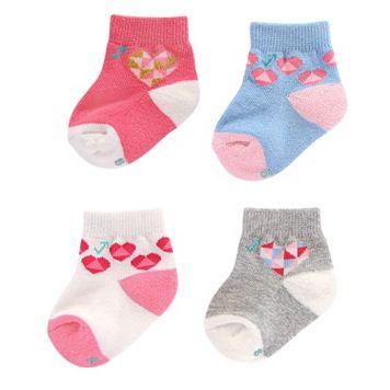Baby Girl everUP™ 4-pk. Hearts Quarter-Crew Socks