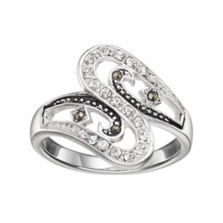 Silver Luxuries Crystal & Marcasite Swirl Ring