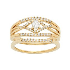 14k Gold 1/2 Carat T.W. IGL Certified Diamond Openwork Engagement Ring Set