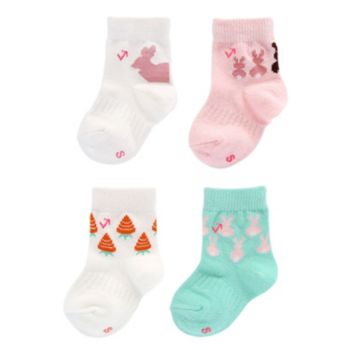 Baby Girl everUP™ 4-pk. Bunnies & Carrots Crew Socks