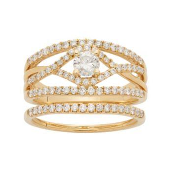 14k Gold 1 Carat T.W. IGL Certified Diamond Openwork Engagement Ring Set