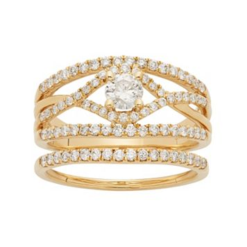 14k Gold 1 Carat T.W. IGL Certified Diamond Openwork Engagement Ring Set