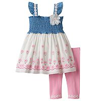 Toddler Girl Nannette Smocked Chambray Flower Tunic & Leggings Set