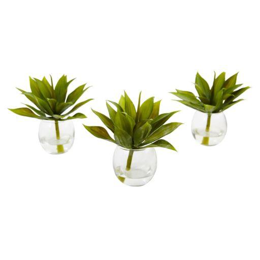 nearly natural Artificial Mini Agave Succulent Trio 3-piece Set