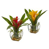 nearly natural Artificial Bromeliad Arrangement 2 pc Set