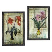 nearly natural French Floral Framed Wall Art 2 pc Set