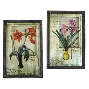 nearly natural French Floral Framed Wall Art 2-piece Set