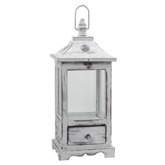nearly natural Distressed Wooden Lantern with Drawer
