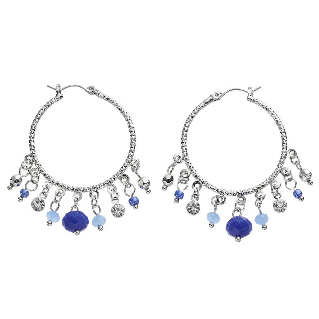 Blue Shaky Bead Textured Hoop Earrings