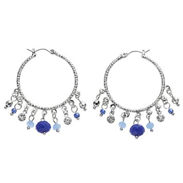Blue Shaky Bead Textured Hoop Earrings