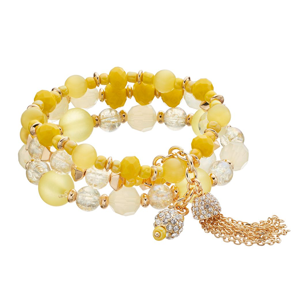 Yellow Beaded Multi Strand Tassel Stretch Bracelet