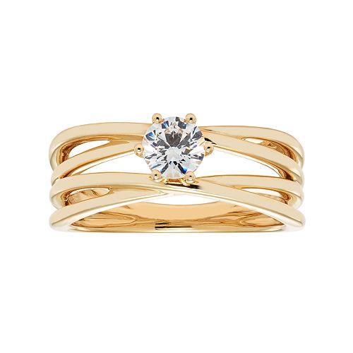 14k Gold 1/2 Carat T.W. IGL Certified Diamond Crisscross Engagement Ring