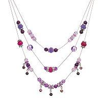 Purple Beaded Multi Strand Necklace
