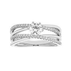 14k Gold 3/4 Carat T.W. IGL Certified Diamond Crisscross Engagement Ring