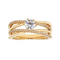 14k Gold 3/4 Carat T.W. IGL Certified Diamond Crisscross Engagement Ring