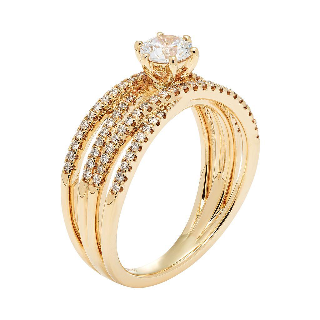 14k Gold 7/8 Carat T.W. IGL Certified Diamond Crisscross Engagement Ring