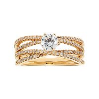 14k Gold 7/8 Carat T.W. IGL Certified Diamond Crisscross Engagement Ring
