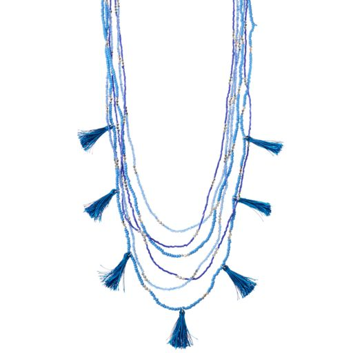 Blue Seed Bead & Tassel Long Layered Necklace