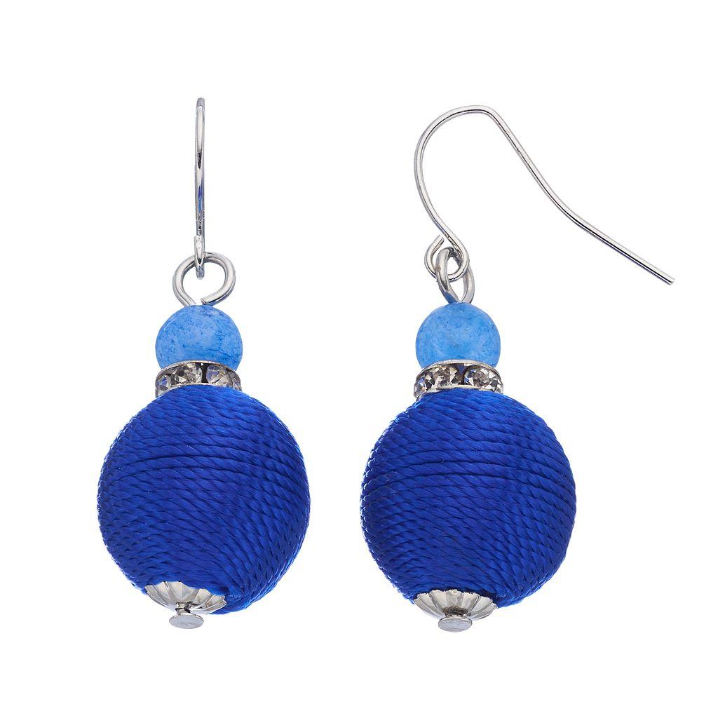 Blue Rope Wrapped Beaded Drop Earrings