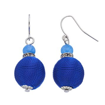 Blue Rope Wrapped Beaded Drop Earrings