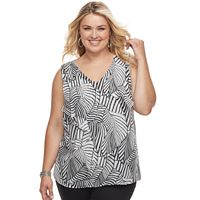 Plus Size AB Studio Leaf Ruffled Tank