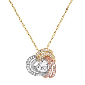 Emotions Tri Tone 18k Gold Over Silver Cubic Zirconia Woven Heart Pendant