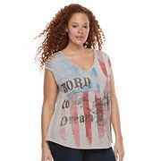 Plus Size Rock & Republic® 'Born To Dream' Americana Slash Back Tee