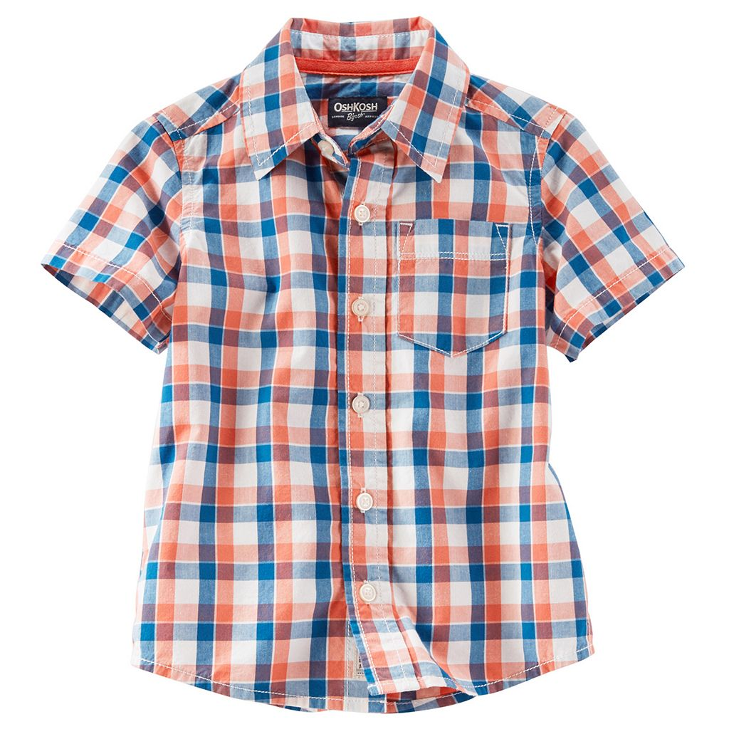 Boys 4-8 OshKosh B'gosh® Short Sleeve Button-Front Plaid Shirt