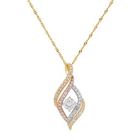 Emotions Tri Tone 18k Gold Over Silver Cubic Zirconia Swirl Pendant