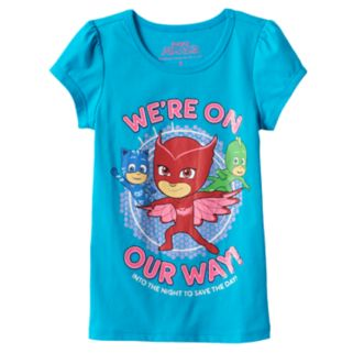 """Girls 4-6x PJ Masks Catboy, Owlette & Gekko """"We're On Our Way Into The Night To Save The Day"""" Tee"""
