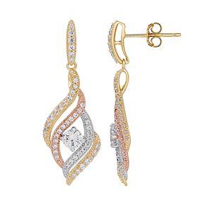 Emotions Tri Tone 18k Gold Over Silver Cubic Zirconia Twist Drop Earrings
