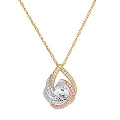 Emotions Tri Tone 18k Gold Over Silver Cubic Zirconia Teardrop Pendant