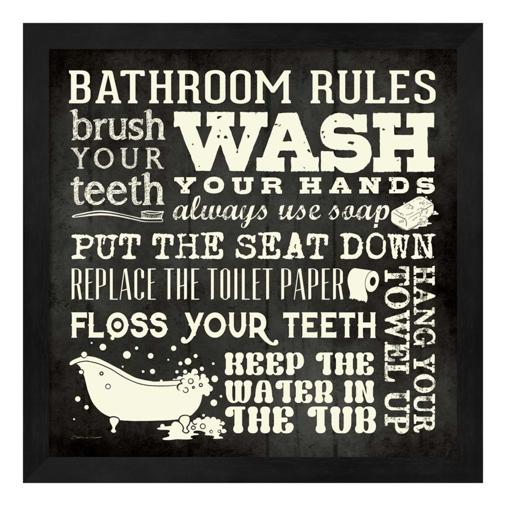 "bathroom rules"" framed wall art"