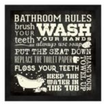"""Bathroom Rules"" Framed Wall Art"