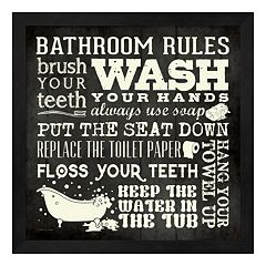 'Bathroom Rules' Framed Wall Art