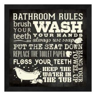 """Bathroom Rules"" Framed Wall Art"