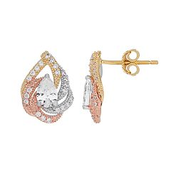 Emotions Tri Tone 18k Gold Over Silver Cubic Zirconia Teardrop Stud Earrings