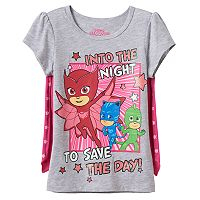 Toddler Girl PJ Masks Owlette, Catboy & Gekko Caped Tee