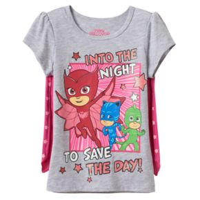 Toddler Girl PJ Masks Owlette, Catboy & Gekko Caped Tee