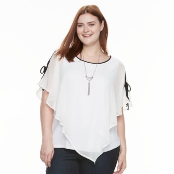 Plus Size AB Studio Popover Necklace Top