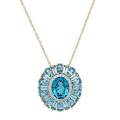 14k Gold Over Silver Simulated Paraiba Tourmaline & Cubic Zirconia Flower Pendant