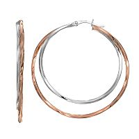 Silver Classics Two Tone Sterling Silver Double Hoop Earrings