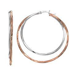 Silver Classics Two Tone Sterling Silver Double Hoop Earrings