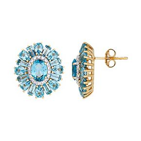 14k Gold Over Silver Simulated Paraiba Tourmaline & Cubic Zirconia Flower Stud Earrings
