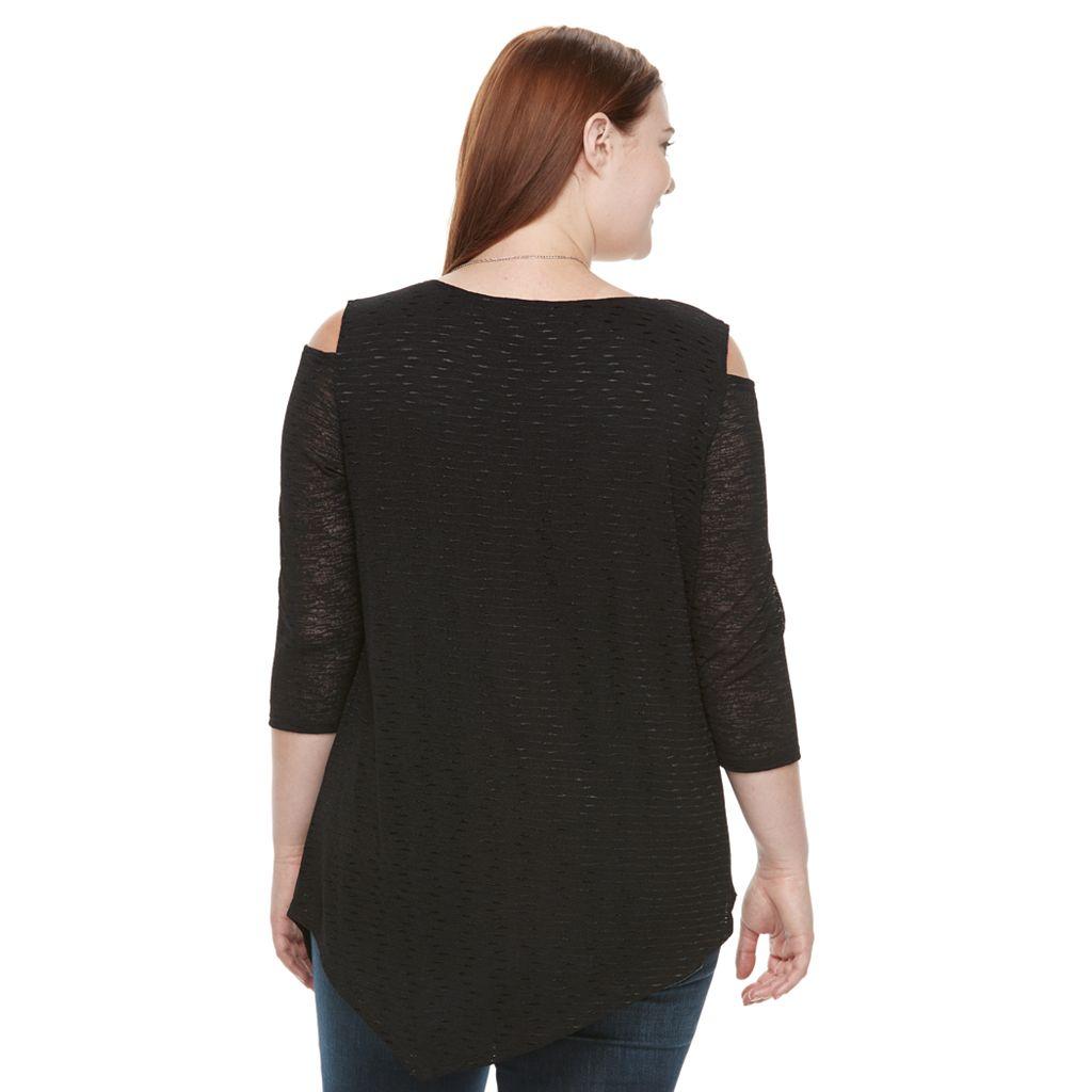 Plus Size AB Studio Cold-Shoulder Necklace Top